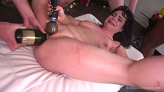 Chubby bride Siouxsie Q is fucked by horny groom and his best friends