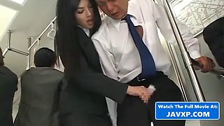 Asian babe fucks on the bus