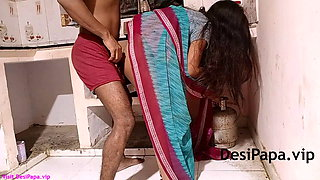 Indian Bhabhi With Her Husband In Kitchen Fucking In Doggy