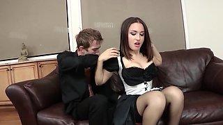 Slender guy assfucks slutty maid with impressive fuckstick