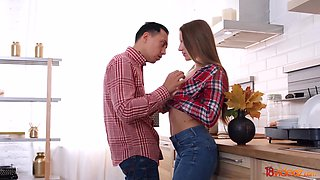 After kissing her stud charming girlfriend desires to be anal banged in the kitchen