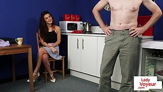Kinky CFNM housewife instructs guy to jerkoff