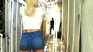 Blonde sperm slut double penetrated in reverse cowgirl and