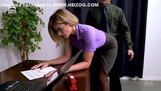 Busty, blonde woman with glasses and her handsome boss are fucking while in his office