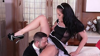 Horny maid suits her master with a bit of hard sex