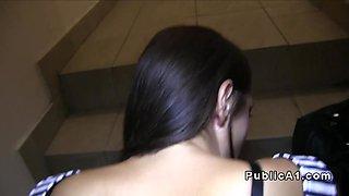 Big boobed amateur bangs in public