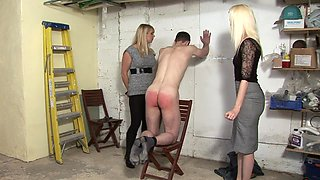 Two wickedly hot blonde dominas and a sissy guy