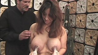 Lactation with nipple pump during bondage
