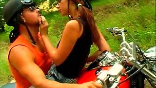 Hot Biker Girl Gets Banged In The Middle Of The Road