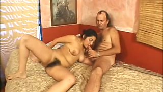 Wild busty wifey takes dick into her bushy pussy for a ride on top