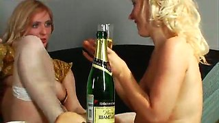 Two really attractive Russian babes getting drunk and horny