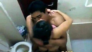 Asian GF Caught Fucking in the Bathroom