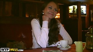 Young looking brunette Mystica sucks cock in public