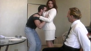 Handsome wife Rayleene rides another dick while tied up hubby watches