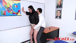 Busty brunette, Pamela Rios is working as a teacher and often having casual sex with students