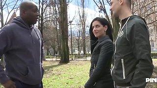 Wife slut makes a blow job to a big black cock