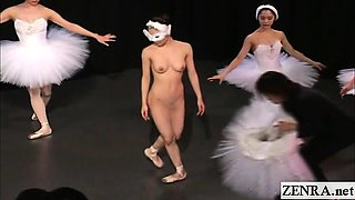 Subtitled Japanese CMNF ballerina recital strips naked