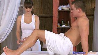 Erotic fucking on the massage table with stunning Rita Peach