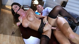 A hot milf removes her uniform and then she gets fucked