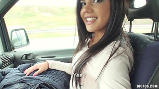 Small tits stunningly cute brunette takes it in the car