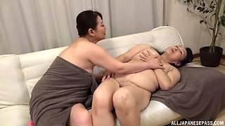 Chubby Japanese matures moan while masturbating together. HD