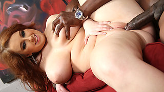 Felicia Clover's vagina gets pounded by huge black cock