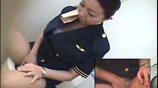 Toilet Masturbation  Hot Japanese  Stewardess