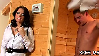 Mischievous maid Leony Aprill caressed and fucked