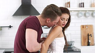 Nice kitchen sex with anal loving girlfriend Alexi Star and her man