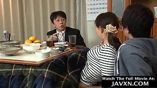 Japanese Mom And Stepson During Dinner