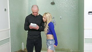 Sultry blond babe Kenzie Reeves gives a blowjob 69 style and gets her slit rammed