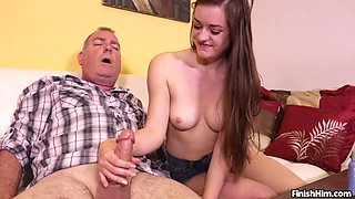 Old guy receives serious handjob from slutty niece