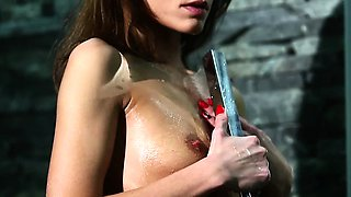 Pornstar babe Sophie Lynx passionate shower sex