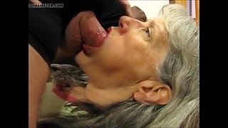 Grandma swallows grandpa's sperm