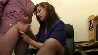 Hawt Older Secretary Jerks The Ball Cream From Bosses Ramrod !