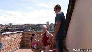 Balcony taboo cheating with gf