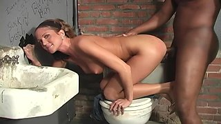 Fit pornstar Spring Thomas sucks and gets fucked by 2 BBCs