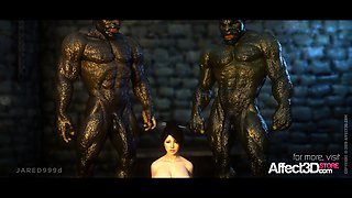 3d animation threesome with orcs and a big tits beauty