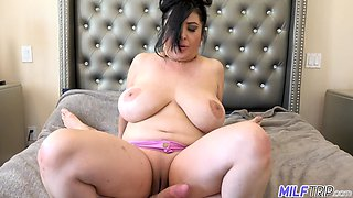 Old fashioned milf with H-cup boobs Jaylene Rio shows talents of her mouth and pussy