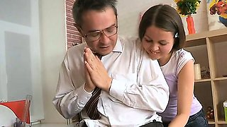 Teacher forcing himself on adorable chick
