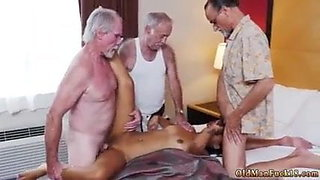 Hot brunette whore is being penetrated by old men