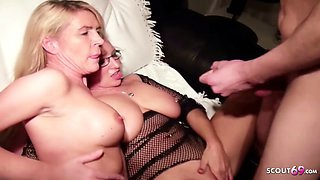 German Mom and Aunt Teach Step Son how to Fuck in Threesome
