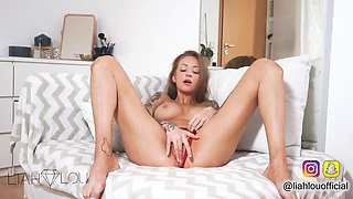 GINGER REDHEAD GIRL MASTURBATES IN HER FIRST VIDEO