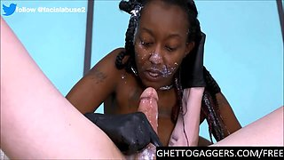 Obedient Black Whore Deepthroats Hard White Dicks