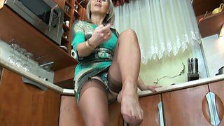 older nylon foot tease and cum in heels 5