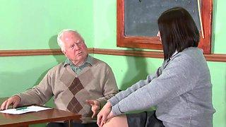 Old fart spanking a big butt schoolgirl slut