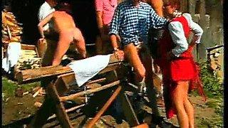 Tirol hotties fucked in outdoor crazy gangbang