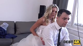 DEBT4k. Slutty young wife cheats on husband for cash in front of him