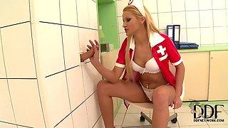 The glory hole for blonde nurse Cherry Kiss