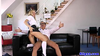Schoolgirl rides oldmans cock on the couch